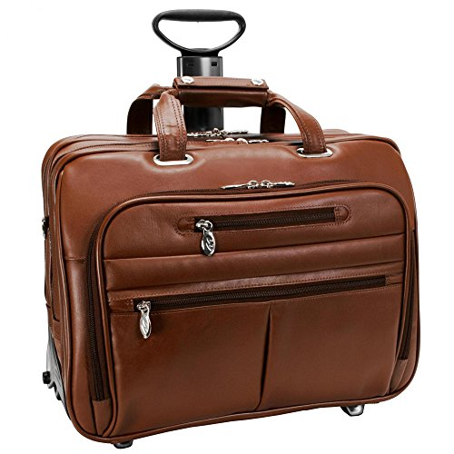 McKleinUSA OHARE 86534 Brown Leather Fly-Through Checkpoint-Friendly 17  Detachable Wheeled Laptop Case by McKleinUSA