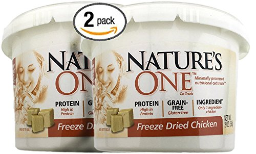 Bundle Pack of 2 Nature's One Natural Freeze Dried Chicken Natural Cat Snack Treats -- Two 2 ounce Tubs for 4 ounces of wholesome Chicken Cat Treats ()