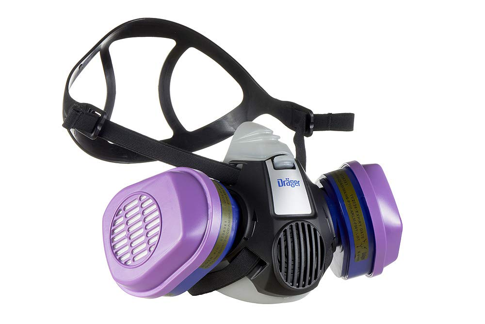 Dräger X-plore 3500 Half-Face Respirator Mask + 2x P100/Multi-Gas Combination Cartridge (OV/AG/HF/FM/CD/AM/MA/HS/P100), NIOSH-Certified, Reusable Professional Respiratory Protection Kit by Dräger (Image #2)