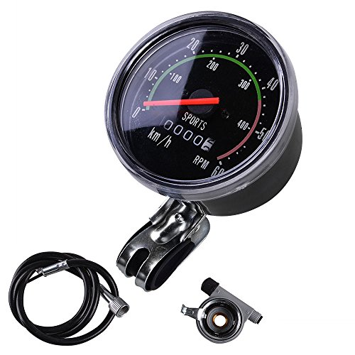 MakeTheOne Old School Style Bicycle Speedometer Analog Odometer Classic Style for Exercycle & Bike ()