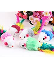 Sanwooden Funny Cat Toy 10Pcs/Lot Soft Fleece False Mouse Cat Toys Colorful Feather Funny Playing Mice Pet Supplies