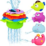 BBLIKE Stacking Cups and Squirting Bath Toys Rubber Animals BPA Free, Indoor Outdoor Beach Fun Bathtub Fun Toy for Water Play