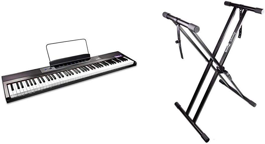 RockJam Teclado de piano digital para principiantes Piano con teclas semipesadas de tamaño completo, Soporte de música + Xfinity Doublebraced ...
