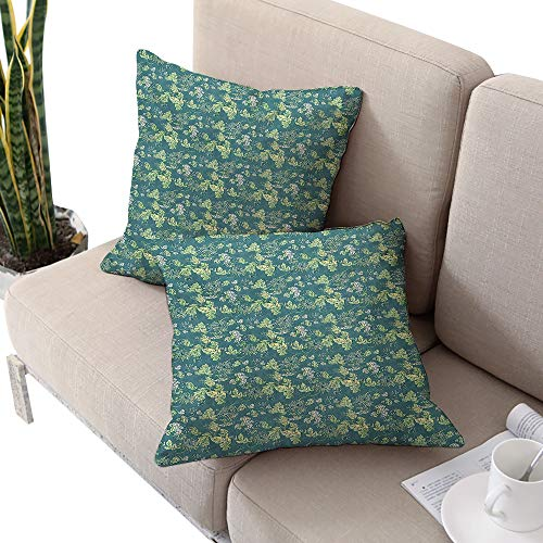 Leaves Square chaise lounge cushion cover ,Pale Colored Foliage with Curly Stems Abstract Illustration of Nature Pale Green Teal White W14