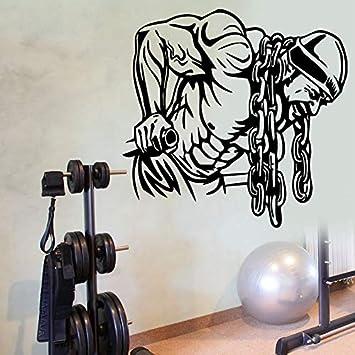 mmzki Etiqueta engomada del Gimnasio Ironmen Fitness Cadena de Hierro Crossfit Mancuerna Calcomanía Body-Building Posters Tatuajes de Pared Parede ...