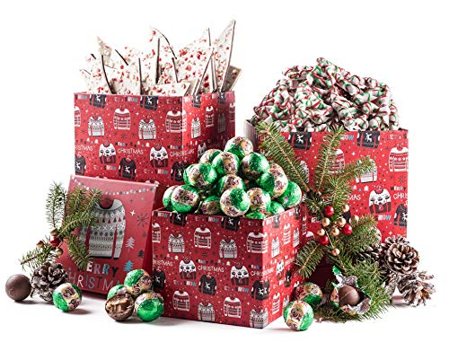 Benevelo Gifts 3 Tier Gourmet Nuts & Snacks Holiday Gift Set (Pretzels, Bark & Chocolate)