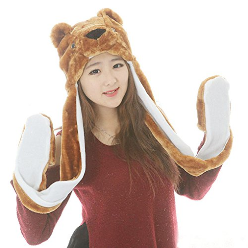 [Women Ladies Girls Cute Lovely Full Animal Hood Hoodie Hat Spring Autumn Fall Winter Warm Soft Plush 3 in 1 Hat with Mitten Pocket Gloves Long Scarf Brown] (Easy Cute Teenage Halloween Costumes)