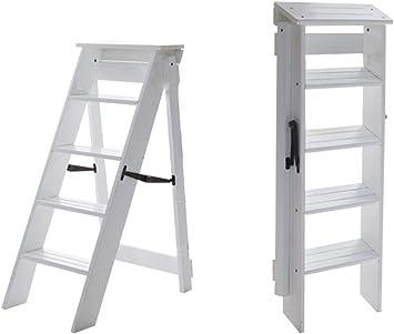 KFDQ Inicio Taburetes, silla alta Taburete de escalera Escalera Estantería Escalera de mano Madera de pino Escalera de doble uso Escalera de 4 escalones Seguridad ensanchada Estantería plegable Cocin: Amazon.es: Bricolaje y