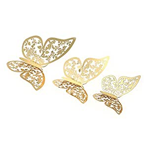 3D Butterfly Wall Stickers Removable Mural Stickers Wall Decals Decor for Wedding Party