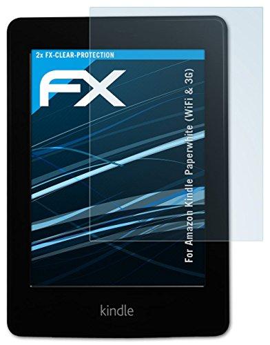 2 x atFoliX Displayschutzfolie Amazn Kindl Paperwhite (WiFi & 3G) Schutzfolie - FX-Clear kristallklar