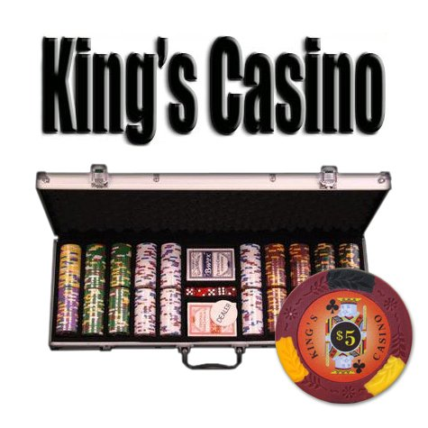 500 Count Kings Casino Poker Set - 14 Gram Clay Composite Chips with Aluminum Case, Playing Cards, & Dealer Button for Texas Hold'em, Blackjack, & Casino Games by Brybelly
