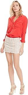 product image for MOTHER Denim The Straight Mini Fray Cotton Skirt Slipstream – Mandarin Cream