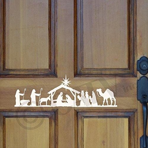 Nativity Scene Vinyl Lettering Wall Decal Sticker (Ivory, 6