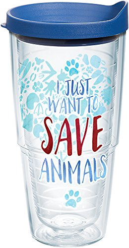 Tervis 1247349 Save Animals Tumbler with Wrap and Blue Lid 24oz, Clear by Tervis