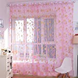 coromose Warm Printing Curtain Floral Screens Bedroom Home Curtain 200X100cm (Pink)