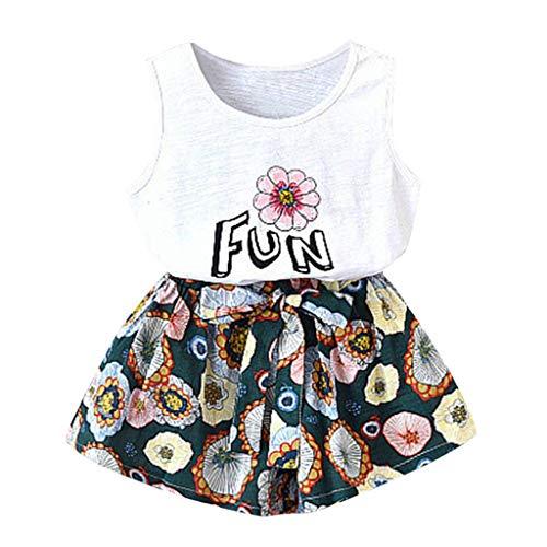 (Rakkiss Girls Floral Print Outfits Set Solid Vest Cute Tops Fashion Shirt Jumpsuit Romper)