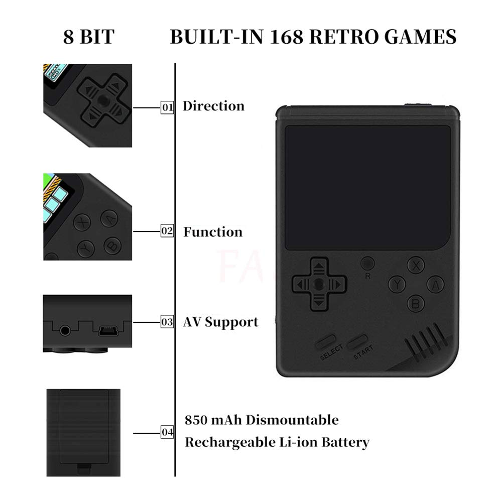 MyArTool Retro FC Handheld Game Console, Built-in Up to 168 8bit Classic Games 3 Inch LCD Screen Portable Video Game Consoles Synchronize with TV and Support for Two Players by MyArTool (Image #4)