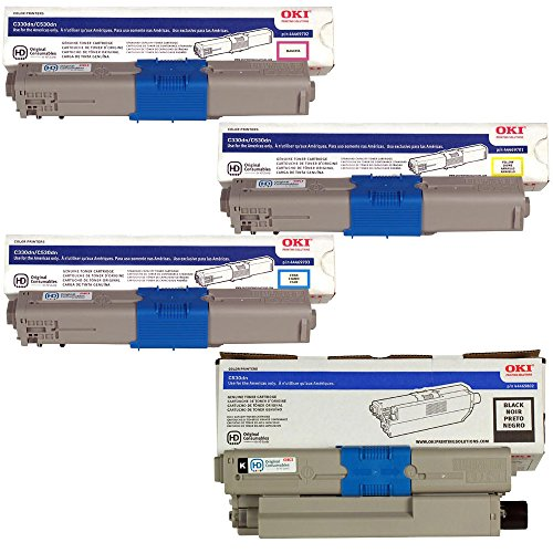 OKIdata 44469802 High Yield Black with 44469703, 44469702, 44469701 Standard Yield Color Toner Cartridge Set