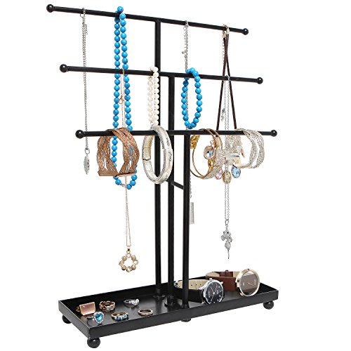 Modern Black Metal 3 Tier Tabletop Bracelet & Necklace Jewelry Organizer Display Tree Rack w/ Ring Tray by MyGift