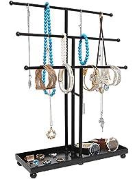 Modern Black Metal 3 Tier Tabletop Bracelet & Necklace Jewelry Organizer Display Tree Rack w/ Ring Tray
