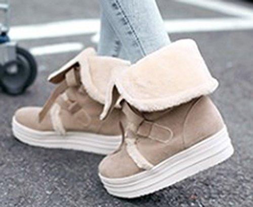 Winter Warm Women's Fur Boots Beige Lined Sfnld Shoes Snow qIw5d7x