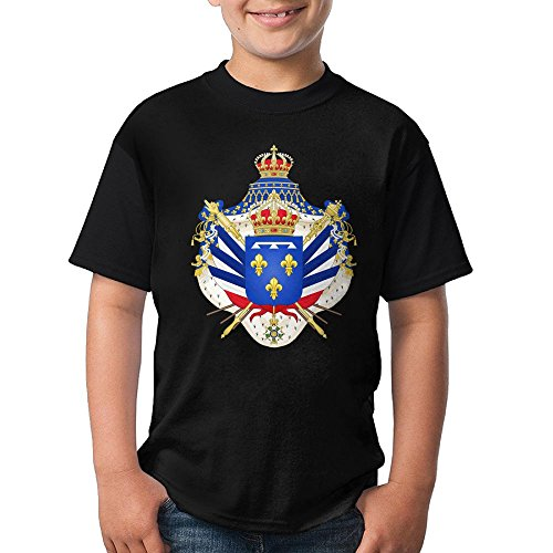 (Coat Of Arms July Monarchy Teen's Short Sleeve TshirtTee Round Neck For Youth Boys KidsFuny X-Large)