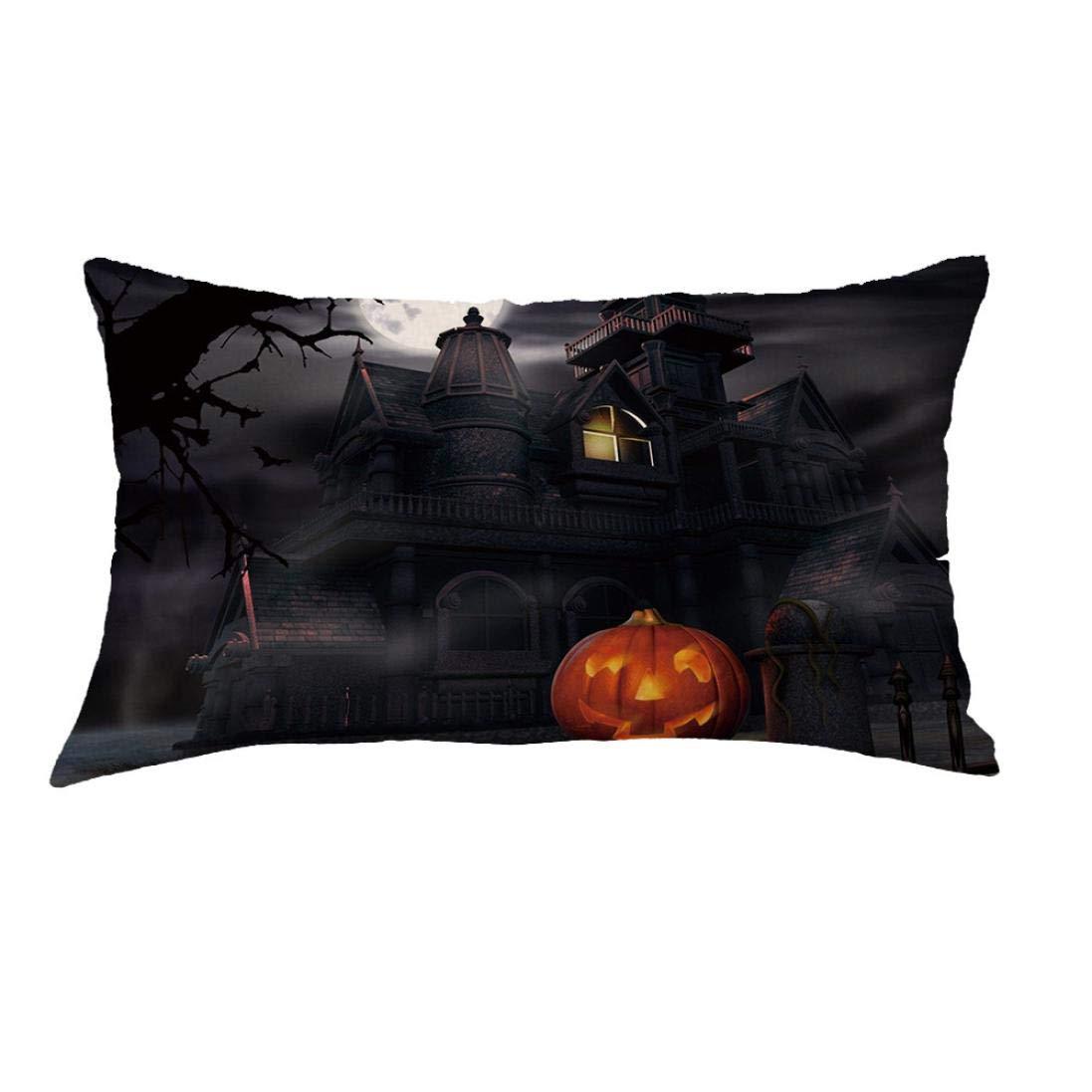 Longra☀ Merry Halloween Fantasma Calabaza Funda de Almohada ...