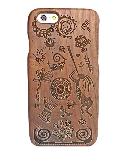 Carved Walnut Shell - WoodLift Wood Case for Apple iPhone 6 Plus 5.5 inch Carved Mayan culture Patterned Black walnut wooden Hard Case Cover Protective Shell