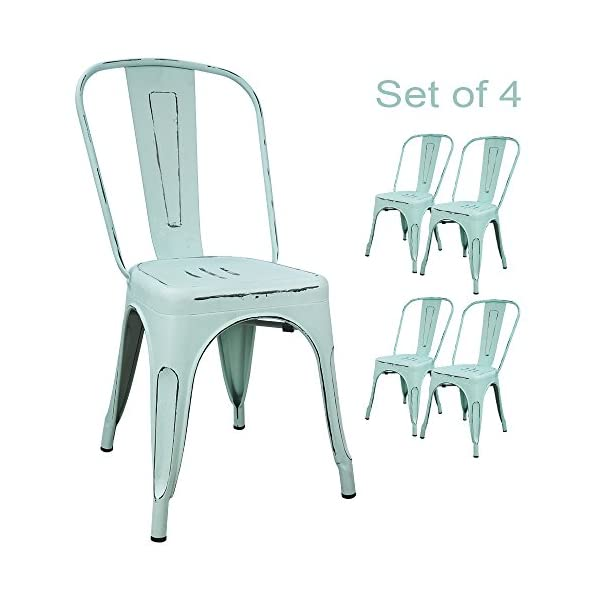 Devoko Metal Indoor-Outdoor Chairs Distressed Style Kitchen Dining Chairs Stackable Side Chairs with Back Set of 4
