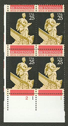 US 1989 House of Representatives Bicentennial Plate Block of 4 Postage Stamps, Catalog No 2412 (Bicentennial Plate Us)