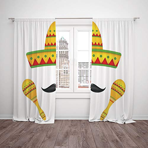 2 Panel Set Thermal Insulated Blackout Window Curtain,Mexican Decorations Famous Centerpiece Icons Sombrero Moustache Rumba Shaker Mesoamerican Image Yellow,for Bedroom Living Room Dorm Kitchen Cafe ()