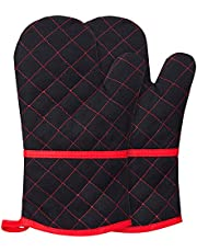 Gesentur Oven Mitts, 100% Cotton Heat-Resistant Thick Oven Gloves with Quilted Liner, Non-Slip Kitchen Gloves Cooking Gloves for BBQ Baking Grilling, 1 Pair