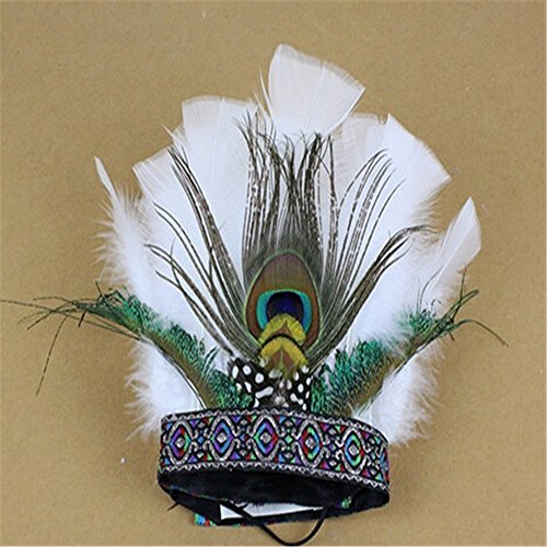 [Lsinyan halloween Original Tribal Chiefs Exaggerated Ethnic Style White Peacock Feather Headdress Hair Accessories for women cosplay] (Festival Street Dance Costume)