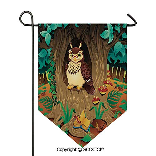 (SCOCICI Easy Clean Durable Charming 12x18.5in Garden Flag Old Wise Nanny Grandma Owl in The Chestnut Tree Hallow Looking Through Sage Character Print,Multi Double Sided Printed,Flag Pole NOT Included)