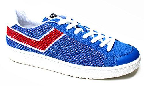 Chaussures De Poney Pour Les Hommes, Mod. Pro 80 Flyknit, Article 558aa2, Tige En Mesh Couleur Bleu Royal Et Rouge