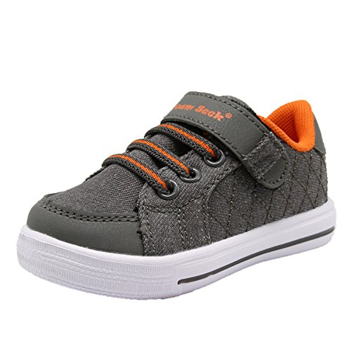 Dream Seek Boys Toddler/Little Kid/Big Kid 1390 Athletic Casual Velcro Strap Fashion Sneaker (9 M US Toddler, Dark Orange)