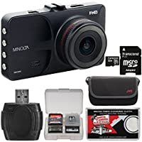 Minolta MNCD53 Car Dashboard 1080p HD Video Camera with LCD Screen and G-Sensor (Black) with 32GB Card + Case + Kit
