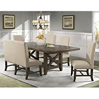 Picket House Furnishings Francis Dining Set-Table, 4 Fabric Back Side Chairs & Fabric Back Bench Rustic/Chestnut/Rubber Wood/6 Piece