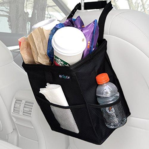 MyTidyCar Hanging Car Trash Can & Cooler - Premium, 3 Pockets, Leakproof, Hanging Car Garbage Bag for Vehicles
