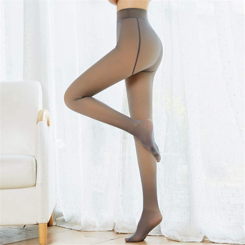 Womens Warm Fleece Lined Tights HebeTop Perfect Slimming Legs Fake Translucent Warm Fleece Pantyhose Thermal Winter Tights