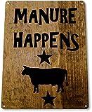 TIN-SIGN-Manure-Happens-Ranch-Decor-Wall-Shop-Farm-Barn-Cow-Kitchen-Store-B050