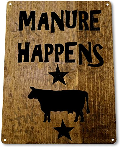 TIN-SIGN-Manure-Happens-Ranch-Decor-Wall-Shop-Farm-Barn-Cow-Kitchen-Store-B050