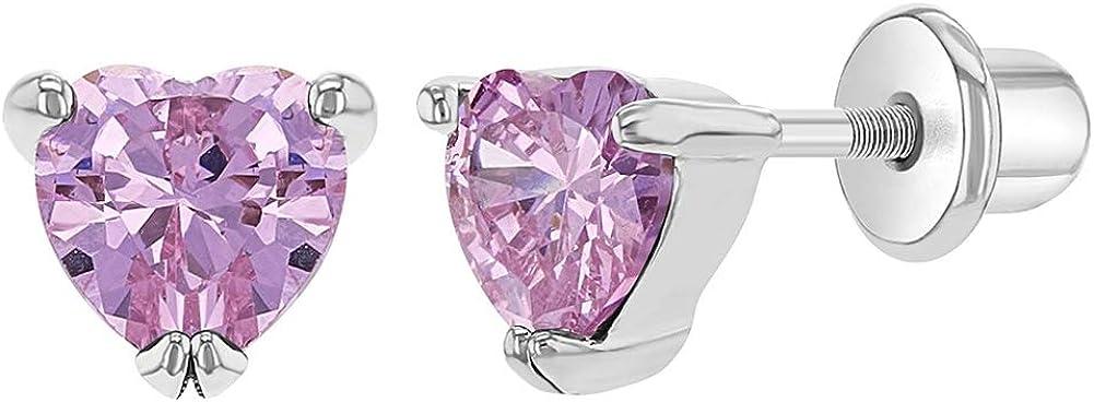 In Season Jewelry Rose Cristal Plaqu/é Rhodium Filles Tiges poussettes s/écurit/é /à vis C/œur Boucles doreilles