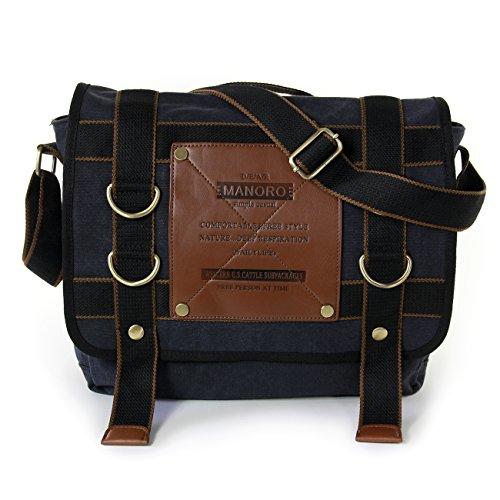 Umhängetasche Messenger Bag Canvas schwarz Crossover Tasche Schultertasche Bürotasche Manoro® Vintage and Vogue OTK212S