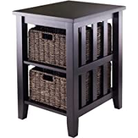 End Table with 2 Baskets in Espresso with Plenty of Storage 2 Opening Sections and 2 Foldable Baskets Made From Corn Husks