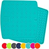 "Premium Silicone Trivet Mats / Hot Pads, Pot Holders, Spoon Rest, Jar Opener & Coasters - Our 5 in 1 Kitchen Tool is Heat Resistant to 442 °F, Thick & Flexible (7"" x 7"", Teal, Set of 2)"