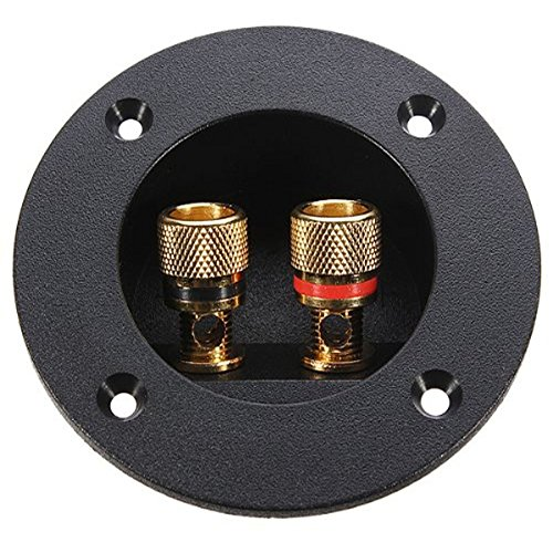 PIXNOR DIY Home Car Stereo 2-Way Speaker Box Terminal Binding Post Round Screw Cup Connector Subwoofer Plug (Black) (Subwoofer Speaker Terminal)