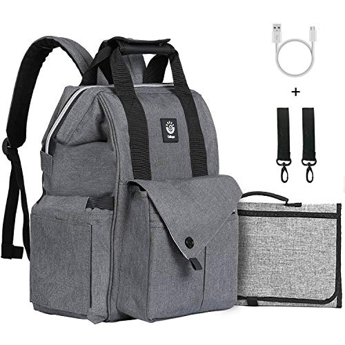 Baby Diaper Bag Backpack USB Heating Multi-Function Travel Waterproof Large Capacity Gray Unisex For Toddler Girl Boy Mom Dad Men Women Gift