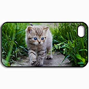 Personalized Protective Hardshell Back Hardcover For iPhone 4/4S, Cat Design In Black Case Color