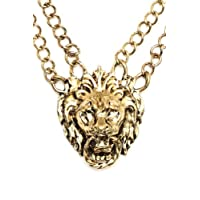 Magic Metal Lions Head Door Knocker Necklace Polished Gold Tone NI06 Double Chain Vintage Chunky Pendant